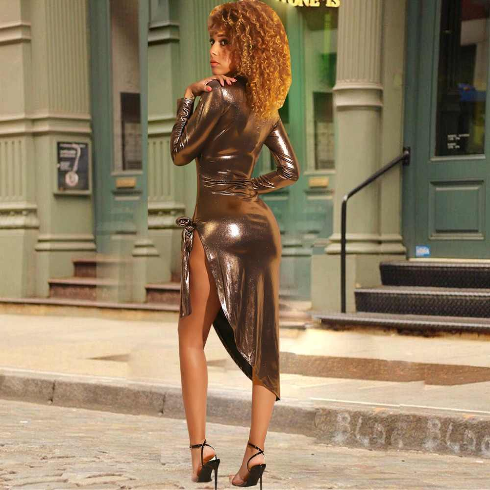 ... PU Leather Asymmetrical Bodycon Club Dress Turtleneck Long Sleeve Side  High Slit Midi Party Dresses ... 32ce4fba6534