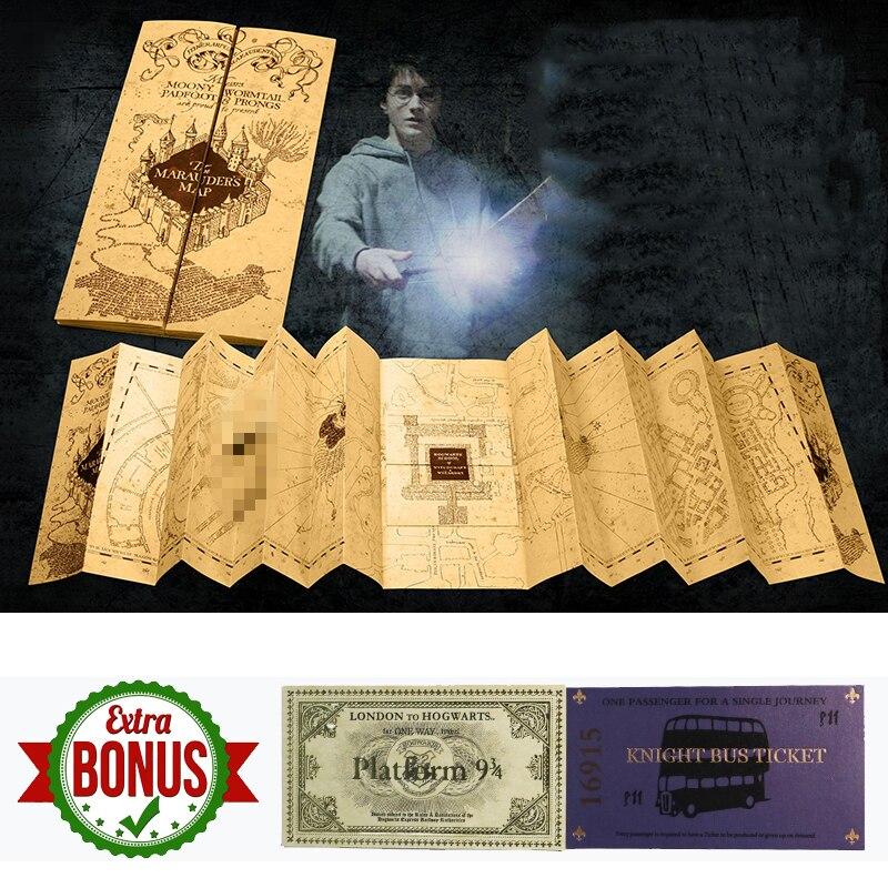 O Mapa do Maroto de Harri Potter Wizarding World Presente do Dia Das Bruxas para Os Fãs de HP Oferta Limitada Tamanho Aberto 76x22 cm