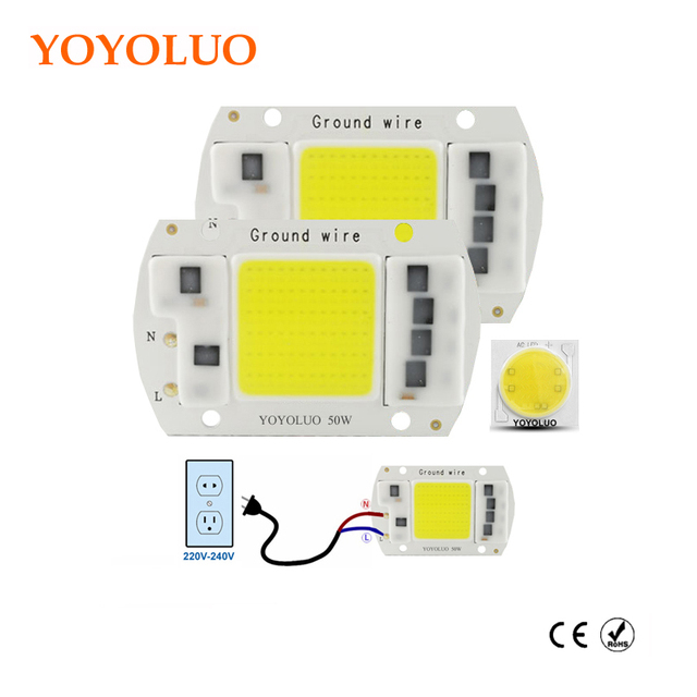 YOYOLUO LED Lamp Chip 220V 5W 15W 20W 30W 50W Cold White Warm White led COB Smart IC Driver Fit For DIY LED Spotlight Floodlight