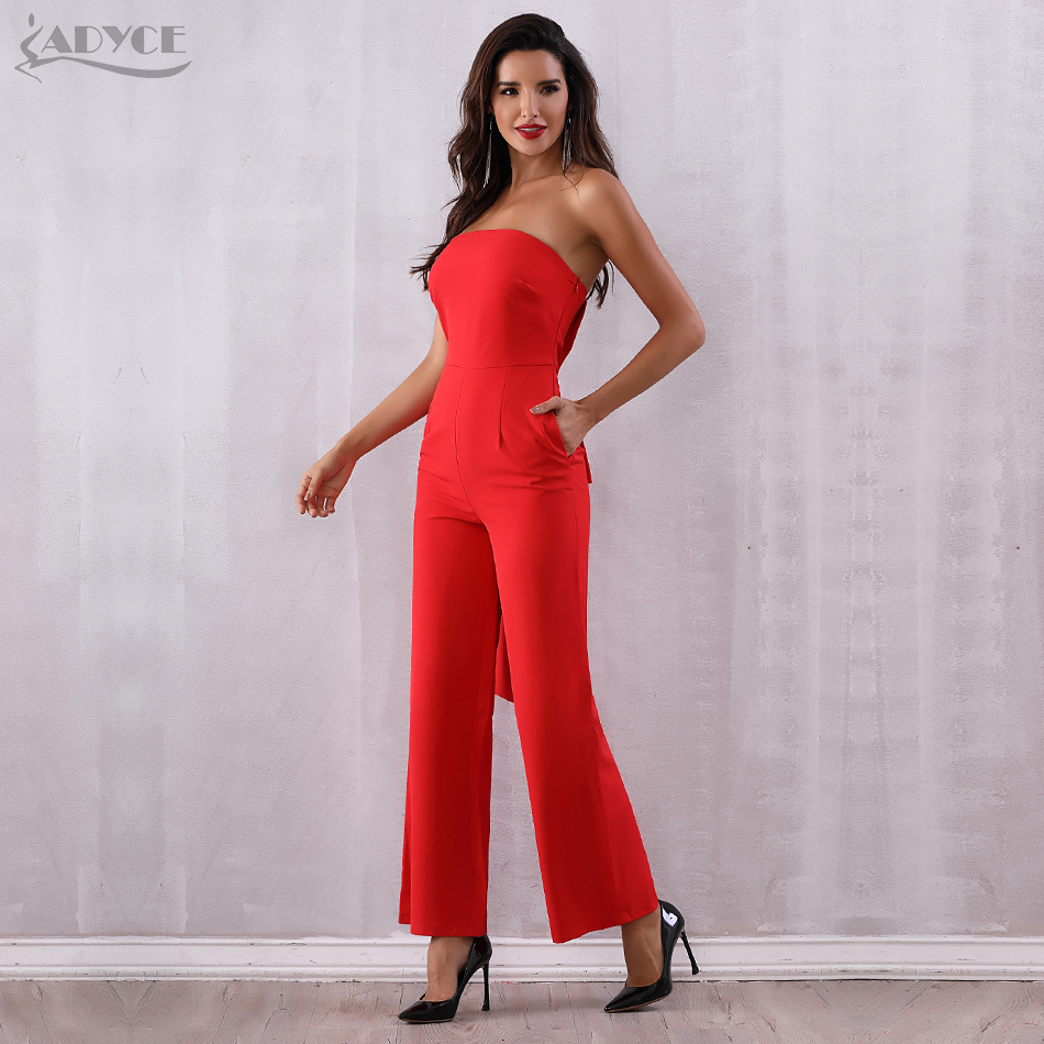 80a6fe9d8cd2 ADYCE 2019 New Summer Women Celebrity Runway Jumpsuits Elegant Strapless  Bow Red Rompers Jumpsuit Sexy Bodycon Bodysuit Vestidos-in Jumpsuits from  Women s ...