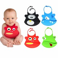 4 Color Available Animal Cartoon Design Baby Bibs Eat Solid Convenience Health Silicone Waterproof Bib For 0-3 Ages Kids