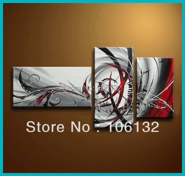 Framed 3 panel huge 3 piece canvas art red black white and red abstract painting picture