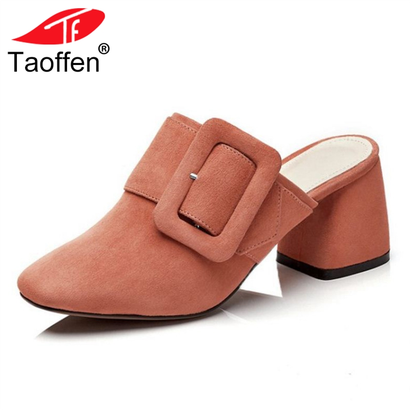 TAOFFEN Women High Heel Sandals Slip On Round Toe Thick Heel Real Leather Female Summer Shoes Office Work Footwear Size 33-40 taoffen women high heels sandals real leather peep toe shoes women buckle clear thick heel sandals daily footwear size 34 39