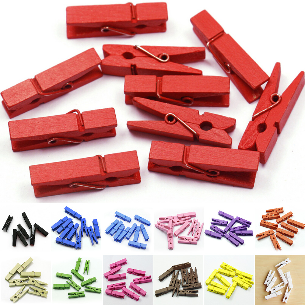 20pcs Mini Colored Spring Wood Memo Clips Clothes Photo Paper Peg Pin Clothespin Craft Clips Party Decoration Size: (L) 35MM