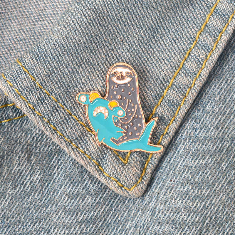 Lucu Lucu Hewan Enamel Pin Llama Bebek Sloth Domba Lencana Bros Kerah Pin Denim Kemeja Jeans Tas Kartun Perhiasan Hadiah untuk Anak-anak
