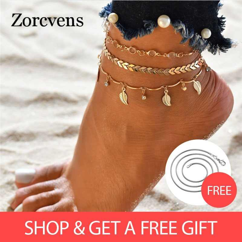 ZORCVENS Gold Color Crystal Sequins Anklet Set For Women Beach Foot jewelry Vintage Statement Anklets Boho Style Summer Jewelry