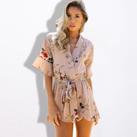Boho Red Floral Print Ruffles Playsuits Elegant Autumn V Neck Jumpsuits Women Rompers Sexy Beach 2017