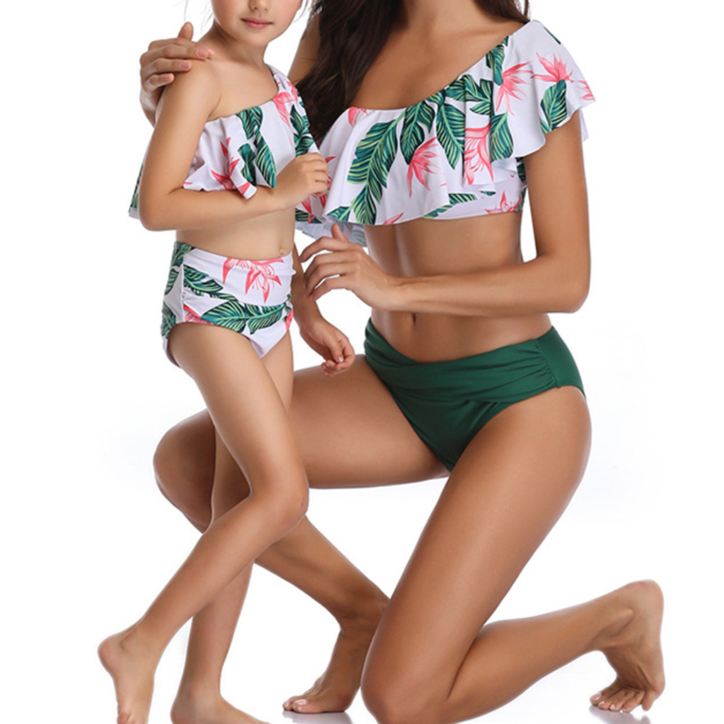 2Pcs Mother Daughter Bikini Set One-shoulder Ruffle Swimsuit Leaf Swimwear
