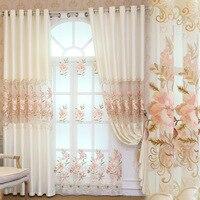 Cortinas para sala de jantar quarto novo estilo europeu cortina fio flor jacquard tecido personalização do produto janela|Cortinas| |  -