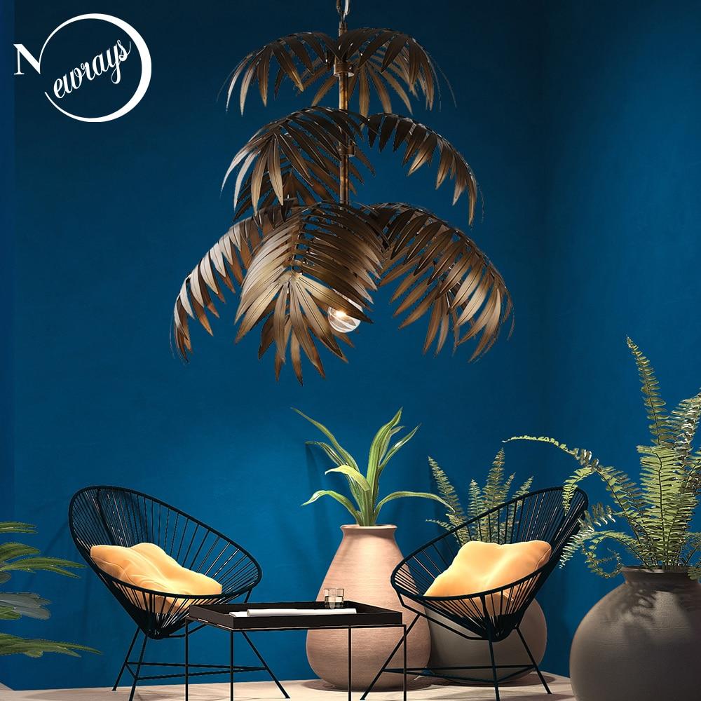 Loft art deco coconut tree pendant light LED E27 modern creative hanging lamp for living room restaurant bedroom lobby hotel bar-in Pendant Lights from Lights & Lighting