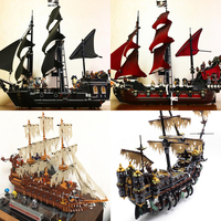 Lepin 16006 16009 16016 16042 16051 22001 Movie Series Pirates Of The Caribbean Ship Toys Model