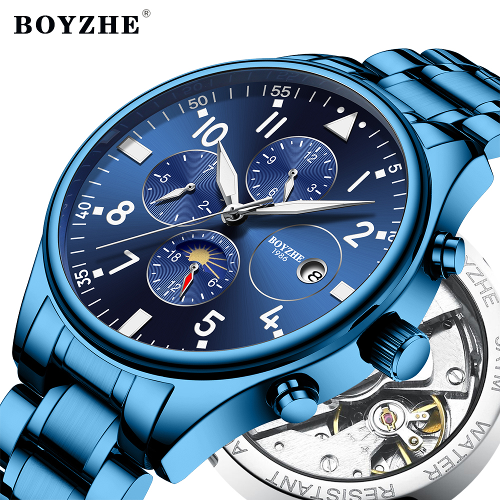 BOYZHE Luxury Brand Men Automatic Mechanical Watch Stainless Steel Waterproof Moon Phase Sports Business Watch Relogio