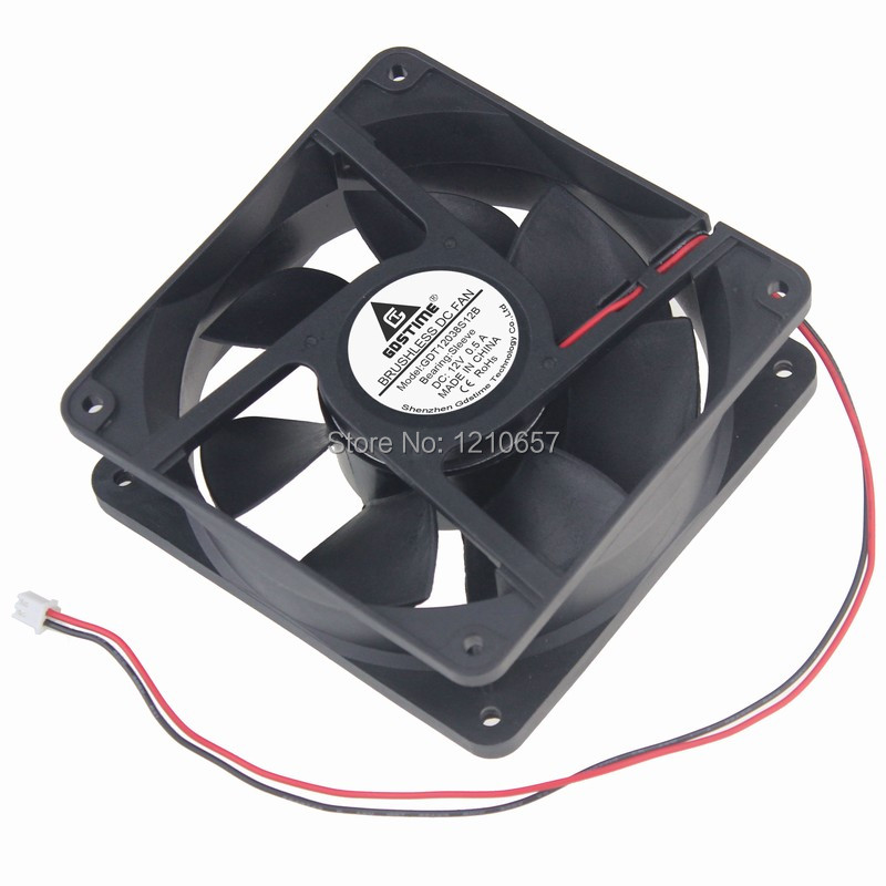 1PCS Gdstime DC 12V 2P 120mm 120x38mm PC Case Brushless Industrial Exhaust Fan gdstime 10 pcs dc 12v 14025 pc case cooling fan 140mm x 25mm 14cm 2 wire 2pin connector computer 140x140x25mm