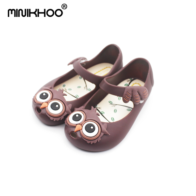 Mini Melissa 5 Color Owl Pattern Girls Jelly Sandals 2018 New Melissa Jelly Sandals Children Shoes Beach Sandals 13cm-15.5cm
