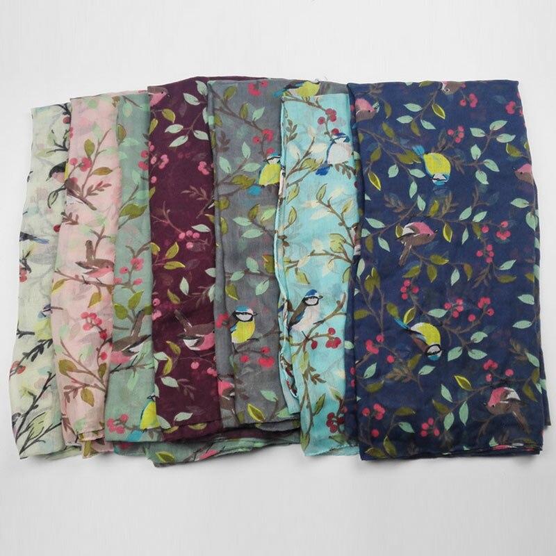 Women Spring Autumn Warm Soft Long Voile Large   Scarf     Wrap   Lady Shawl Leaves Birds Printed Pashmina M8694