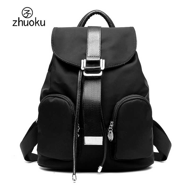 984df467e2 zhuoku 2017 New Listing women backpack good quality Nylon Black travel  backpack Female double Shoulder bag
