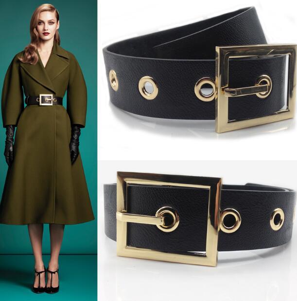 Women's Runway Fashion Genuine Leather Gold Buckle Cummerbunds Female Dress Corsets Waistband Belts Decoration Wide Belt R1188
