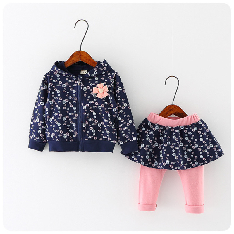 2016 NEW Spring Autumn baby girls clothing set kids long sleeve cartoon Small floral casual set T shirt+pants 2 pcs clothes suit
