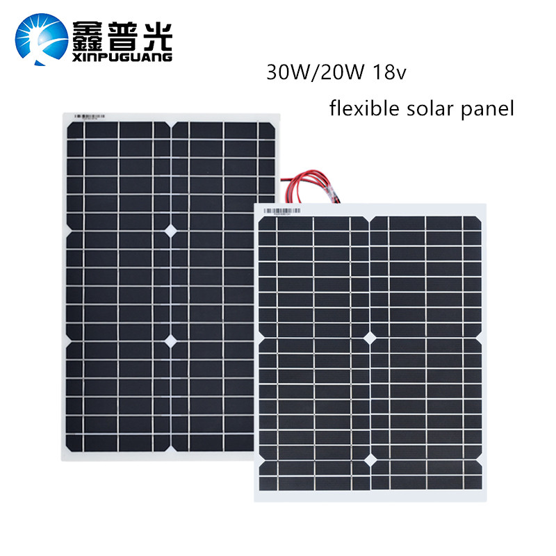 30W 20w 18V Flexible Solar Panel Panels Solar Cells Cell Module DC For Car Yacht Led Light RV 12v Battery Boat Outdoor Charger