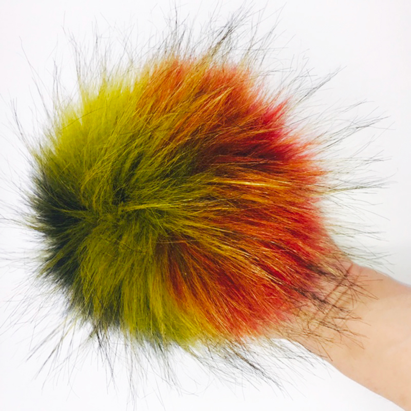 BONAMIE Large Size 12cm Fashion Handbag Decoration KeyChain Fluffy Hair Ball Key Ring Colorful Charm Car Hanging Ornament 1Pc