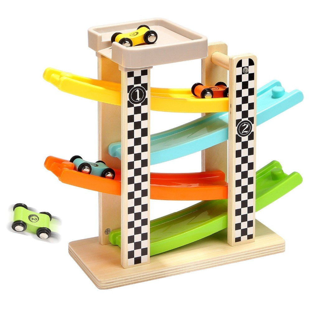 Wooden Track Car Toys Gliding Cars Race 4 layers Slider Ladder Slot Track Play set for K ...