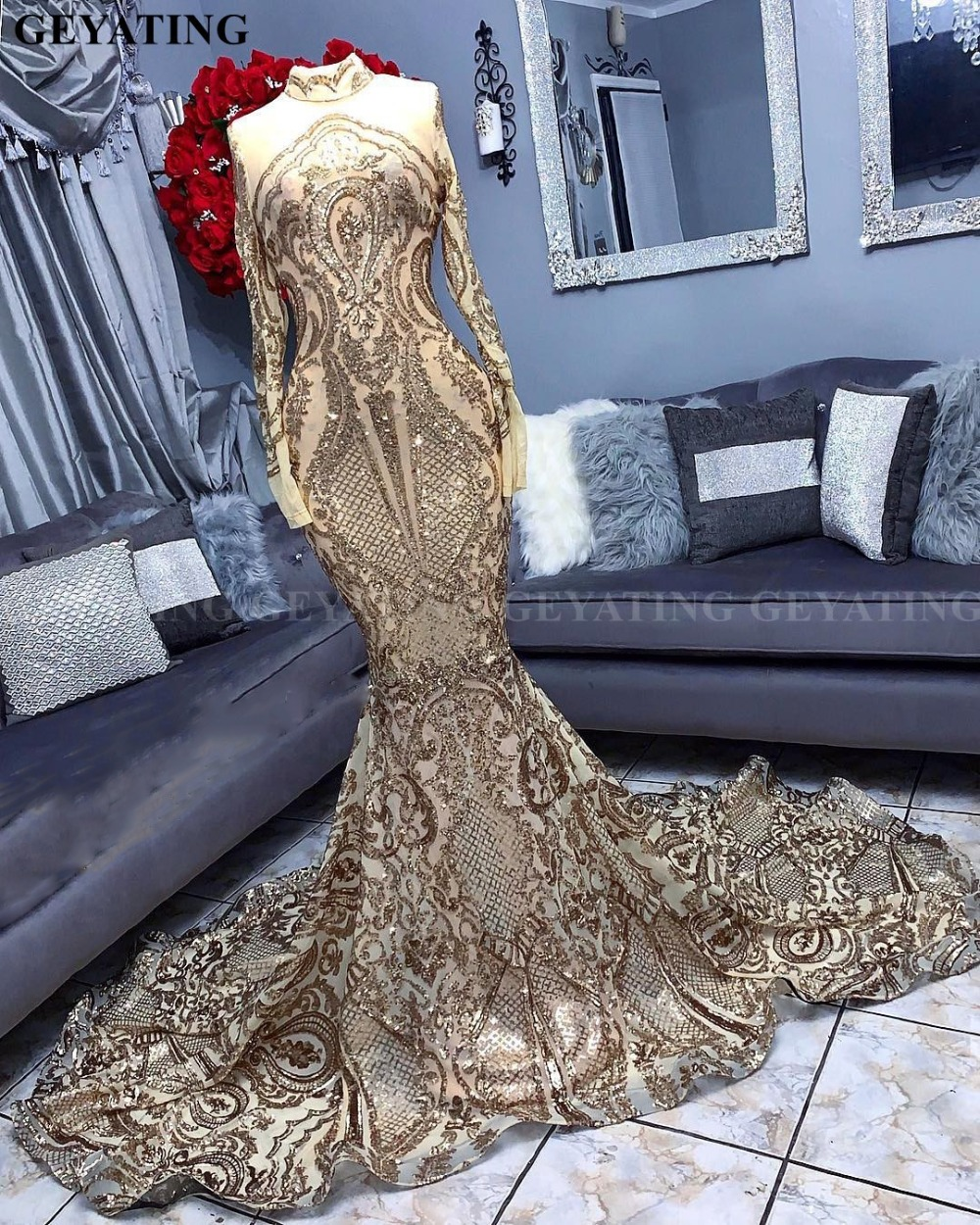 Prom-Dresses Formal-Gowns Sequin Mermaid Sparkly Long-Sleeve Black African Gold High