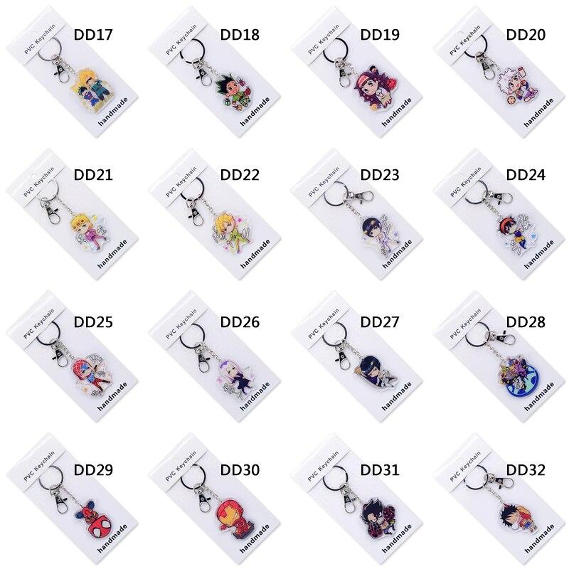 50 шт./лот, милый аниме брелок для ключей, акриловый брелок, высокое качество, на заказ, Chibi мультяшный кулон, аксессуары для ключей - 6