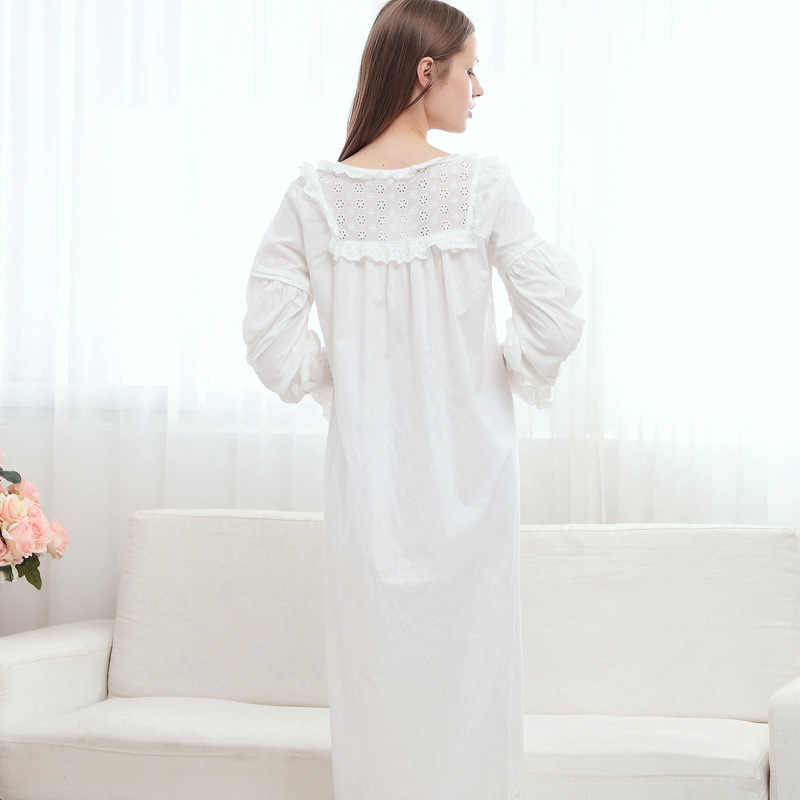 df38619c89 ... New Pregnant Women s Sleepshirts Retro Palace Lace Cotton Long Sleeve  White Princess Sleep Nightgowns Maternity Pajamas ...