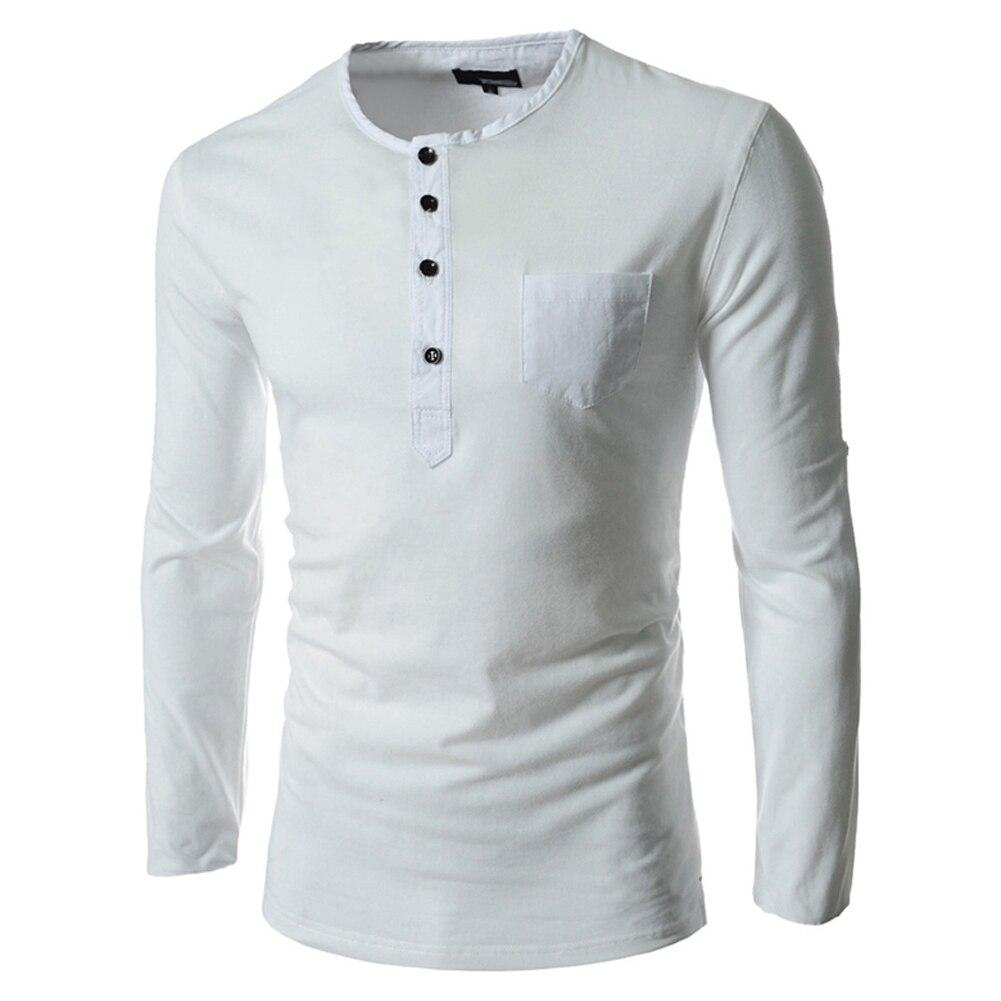 d8fe6104f2ca € 7.95 |Camisa de manga larga con cuello redondo de algodón de cuatro  botones camisas ajustadas Casual para Hombre Ropa interior blanca L en ...