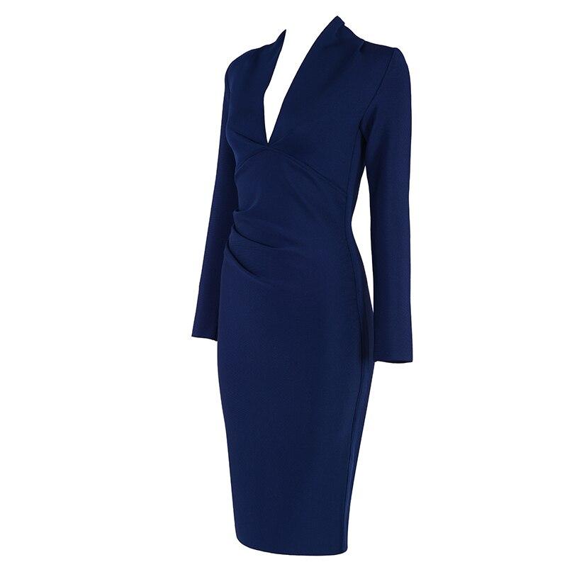cou Orange Bleu De Bandage Offre Spéciale Mode Robes Empire Con Celebrity 2019 Vintage Robe Soirée marine V Gros En Sexy Femmes Corps wx1BIHnq