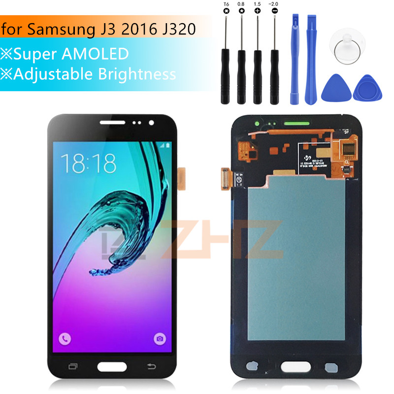 Amoled Für samsung Galaxy J3 2016 <font><b>J320</b></font> <font><b>LCD</b></font> <font><b>Touch</b></font> Screen Digitizer Montage J320F panel J320M <font><b>j320</b></font> spair Teile für samsung j3 image