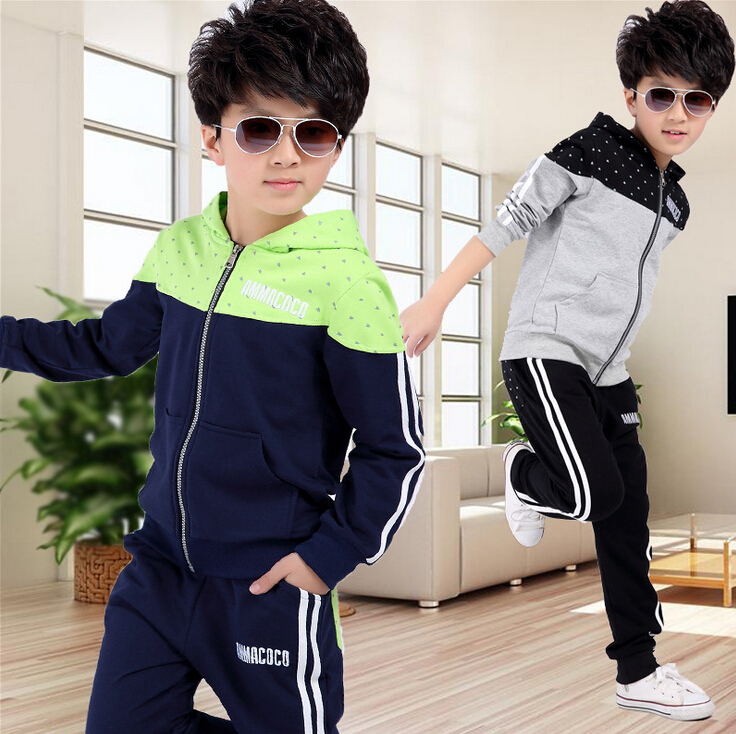 New spring autumn kids clothes sets children casual 2 pcs suit jackets hoodies+pants baby set boys sport suit outwear 4-12 years 2017 new cartoon pants brand baby cotton embroider pants baby trousers kid wear baby fashion models spring and autumn 0 4 years