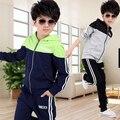 Nueva primavera otoño niños ropa de niños casuales 2 unids chaquetas de traje con capucha + pantalones bebé niños del juego del deporte outwear 4-12 años