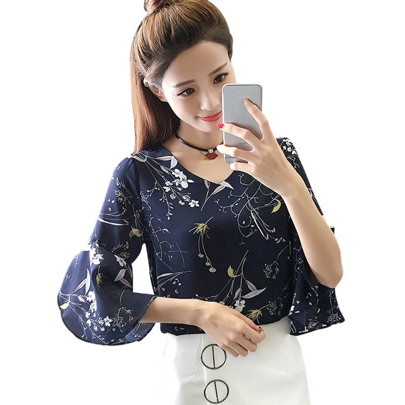 Cosy Summer Women   Shirt   Small V-neck Female   Blouses   Korean Sweet Floral Ruffled Butterfly Sleeve Chiffon Tops harajuku blusas