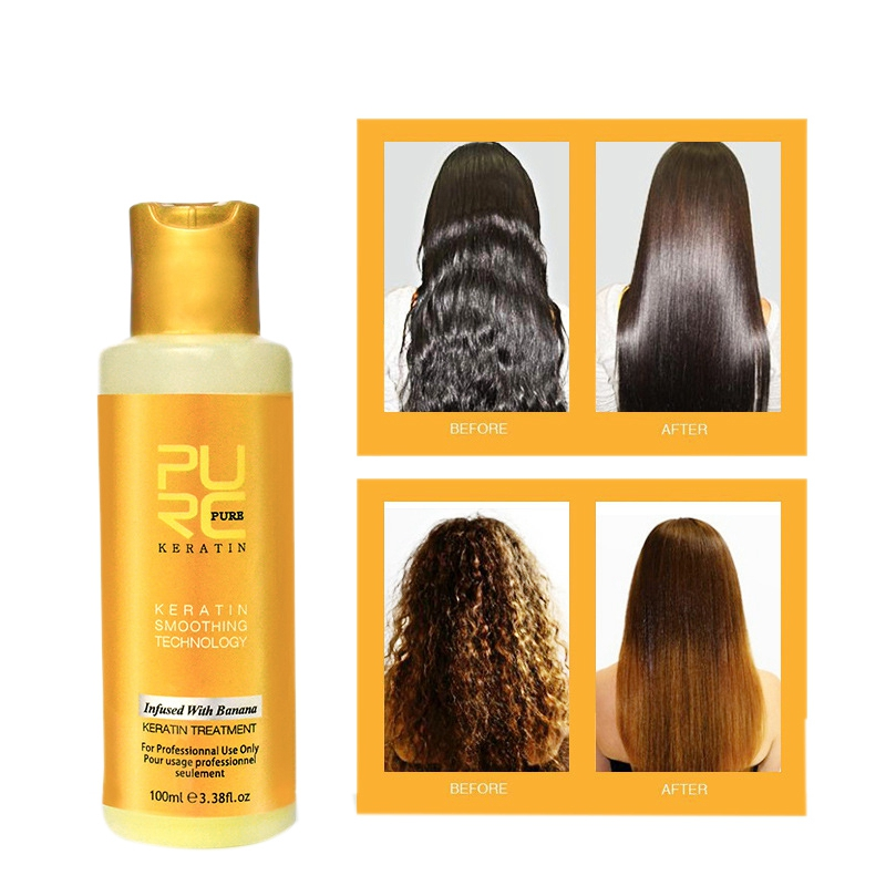 Purc 12% Banana Flavor Keratin Treatment Straightening Hair Repair Damage Frizzy Hair Brazilian Keratin Treatment 100ML image