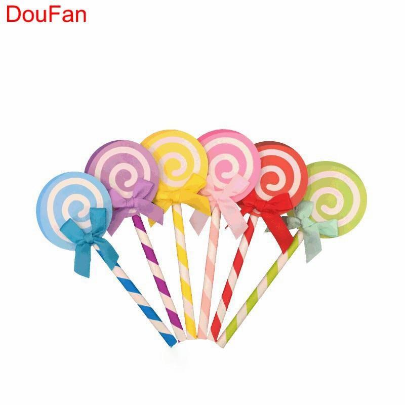 DouFan 6db Színes Lollipop alakú torta Cupcake Topper Kid Lány - Ünnepi és party kellékek