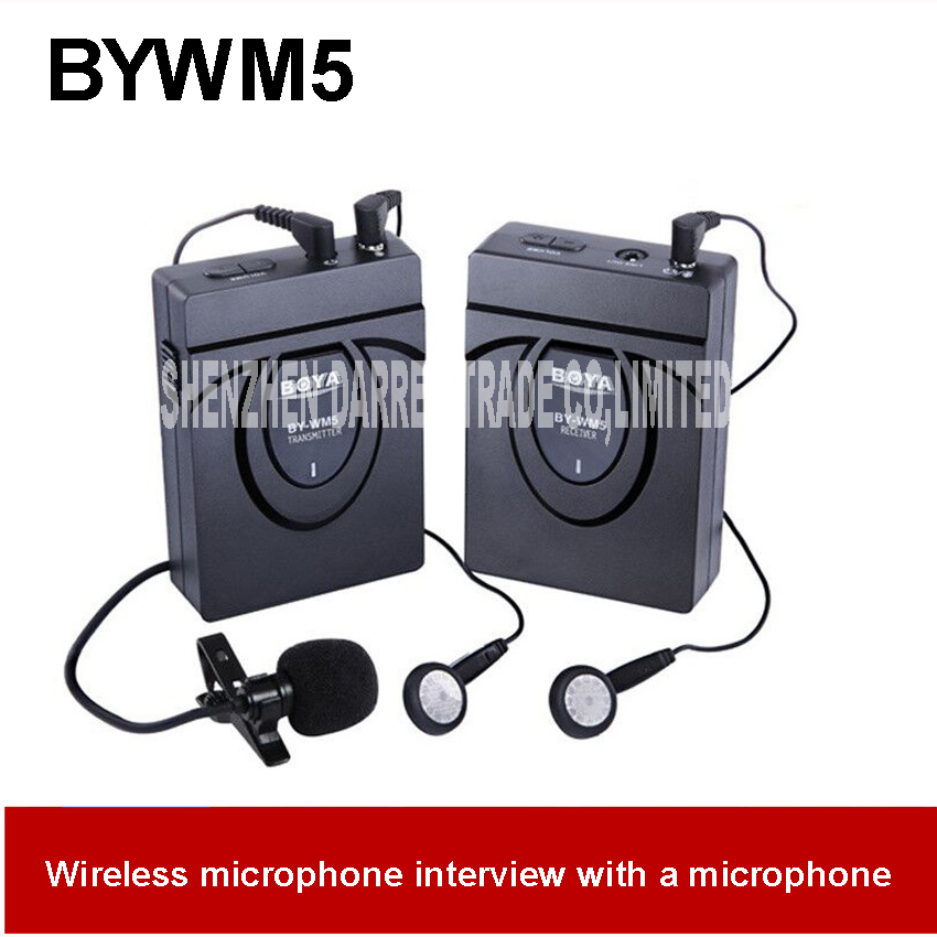 BY-WM5 Wireless Lavalier Lapel Microphone System for Canon Nikon Sony DSLR Camera Camcorders 50M Communication distance 3.0V DC  boya by wm5 lavalier clip on mic audio studio recorder wireless microphone microfone for canon sony gopro dslr camera camcorder