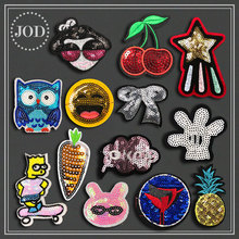 Pineapple Sequin Iron on Patches for Clothes Stickers Fabric Cartoon Embroidery Patch Applique Clothing Badge Applications
