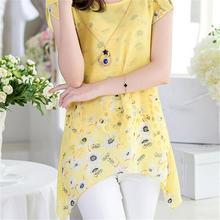 2017 Elegant Summer Women Floral Print Irregular Long Tops Asymmetric Hem Chiffon Blouse Tee Shirt Plus