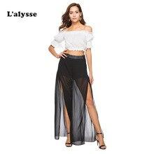 LALYSSE Plus size women Chiffon loose pants Summer HighWaist Straight long Leg Pant Casual split beachwear black boho beach