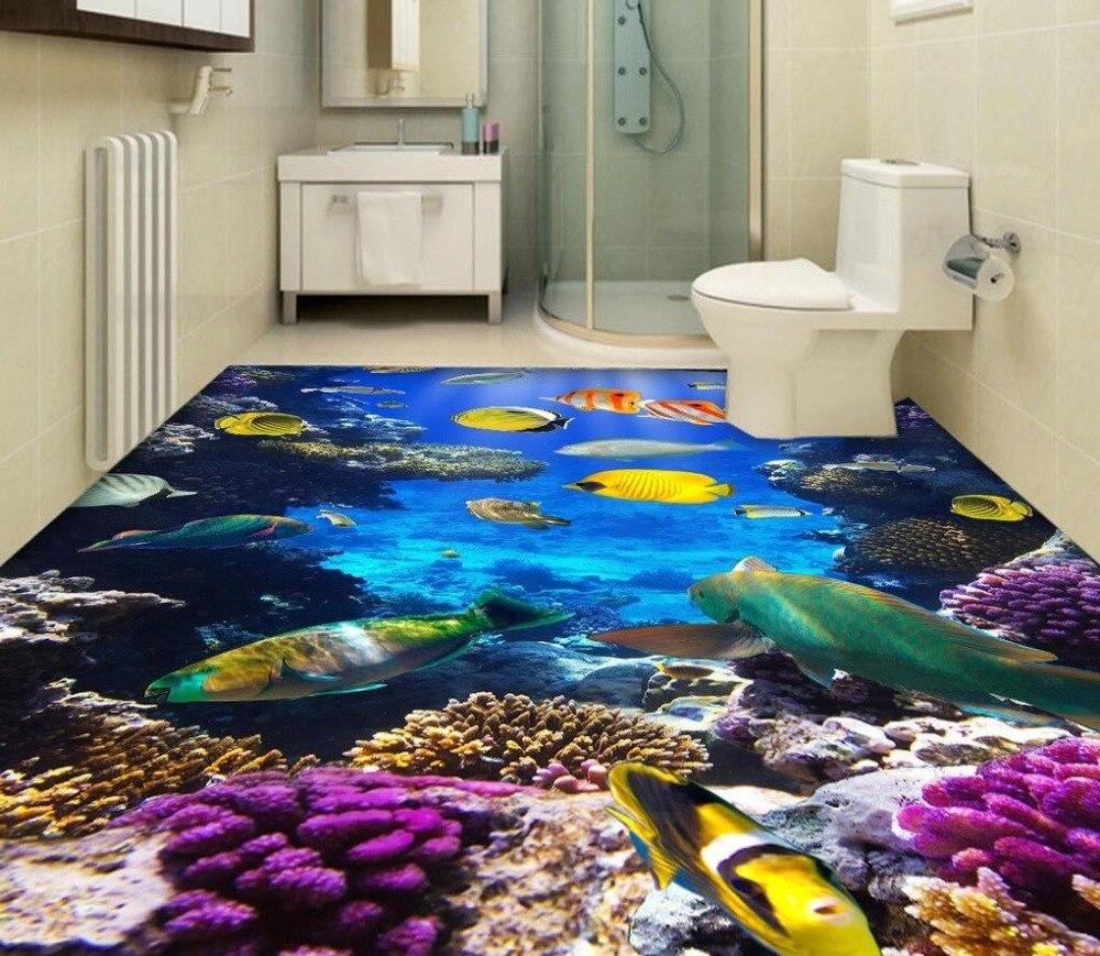 Aliexpresscom  Buy Beach Floor Murals In Wallpapers Ocean Fish - Ocean floor painting