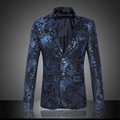 New arrvial fashion mens floral blazer slim fit velveteen men blazer designs costume homme	men's clothing size m-6xl XF38-4