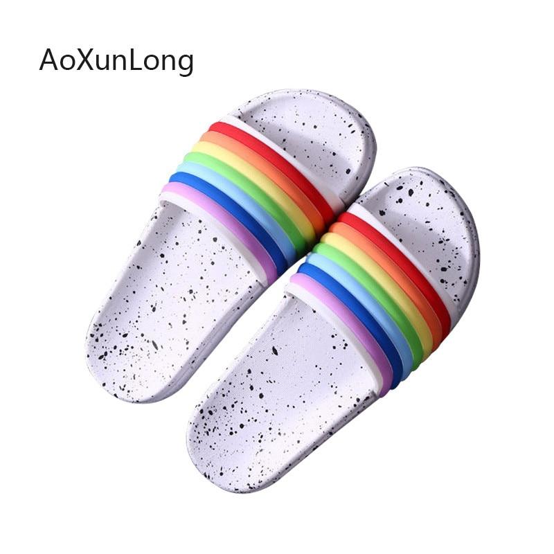 AoXunLong Summer Slippers Woman 2019 Rainbow Shoes Peep Toe Flip Flops Women Bathroom Home Slippers Outdoor Beach Sandals Slides