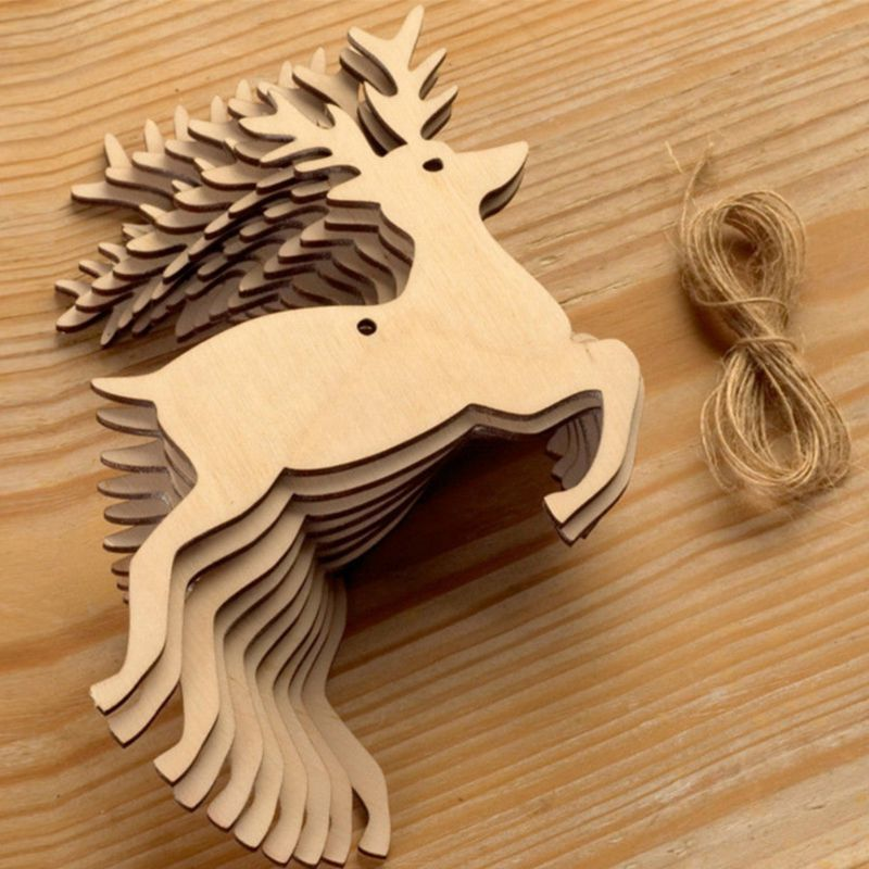 10pcs christmas Wood Crafts Pendant Snowman Elk noel decorations for home navidad 2019 tree decorations kerst enfeite de natal