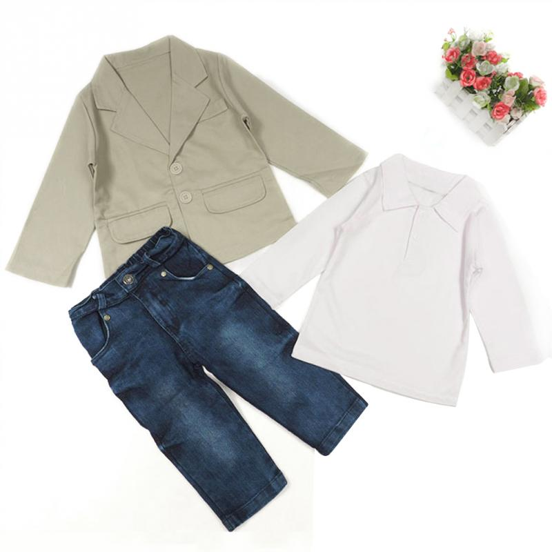 f939a4873 Popular Kids Boys Blazer T Shirt Jeans Clothing Sets Little Boys Casual Gentleman  Suits Wedding Party Kids Wear 3 Pcs/set-in Clothing Sets from Mother ...