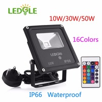 LEDGLE IP66 LED Flood Lights with Remote Controller Waterproof COB Bead Outdoor Infrared Floodlights 10W/30W/50W 16Colors Light