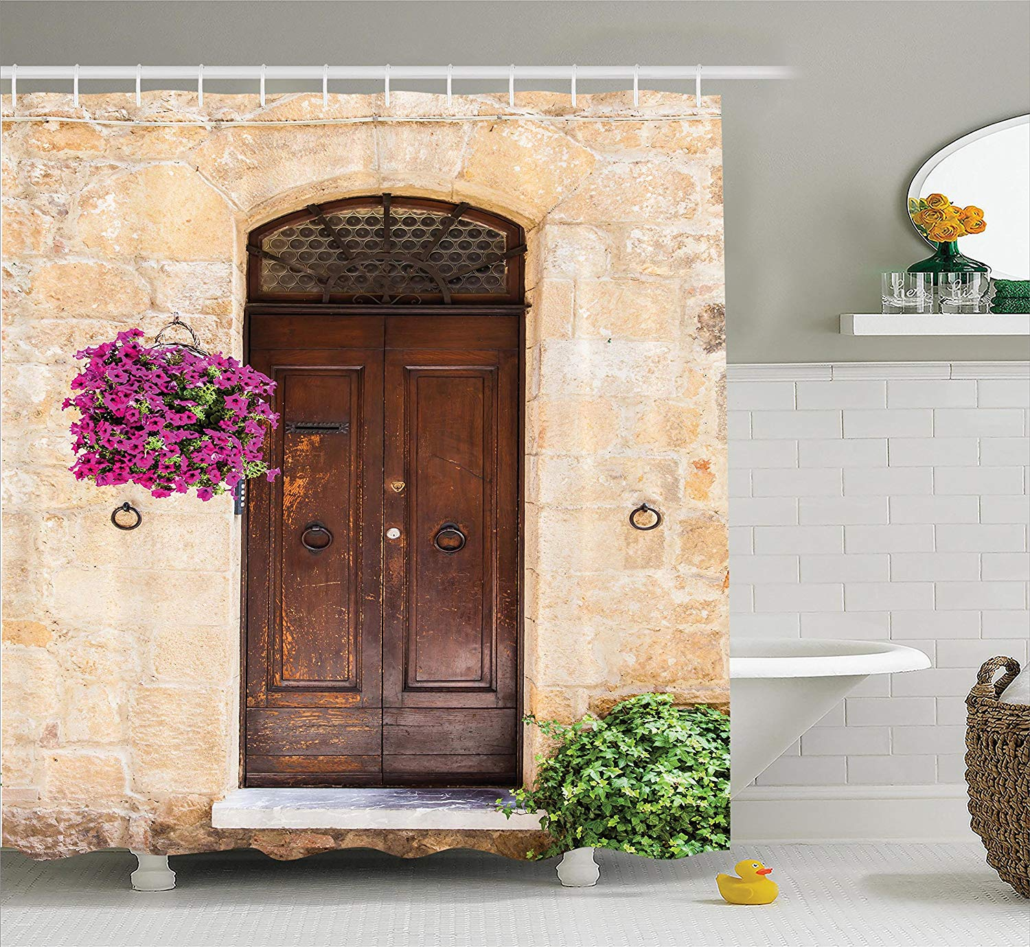 Tuscan Decor Shower Curtain Image of Rusty Wood Door with Flowers in ...