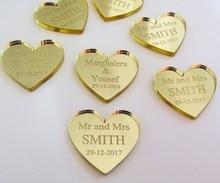 50 Buah Pribadi Cermin/Clear Mr & Mrs Nama Cinta Jantung Pernikahan Tabel Dekorasi Nikmat 25 Mm Disesuaikan * 24 Mm