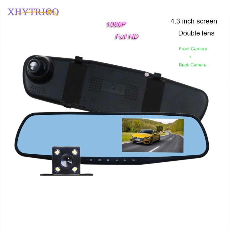 1pcs Full HD 1080P Car DVR Camera Dual Large Lens 4.3 Inch Auto Rearview Mirror Video Digital Recorder Registratory Camcorder