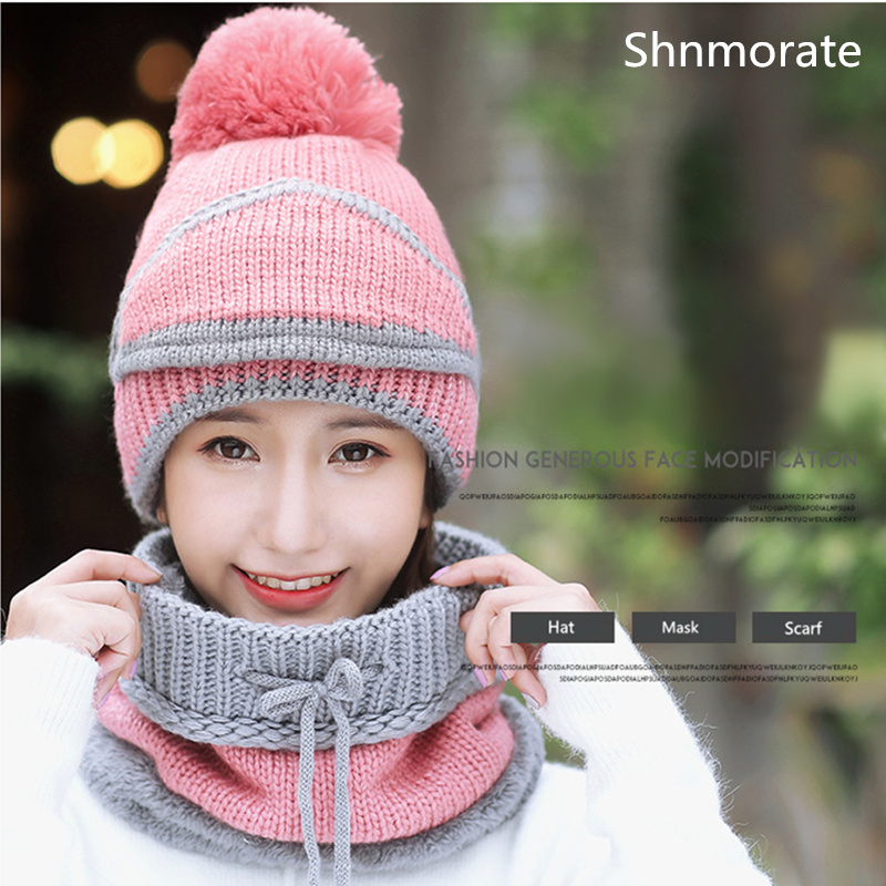 Winter New Color Pom Knit Beanies Women's Hats Removable Mask Ladies Beanie Girls Skullies Caps Bonnet Femme Snapback Warm Neck